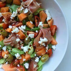 Gezonde+salade+met+meloen+en+ham