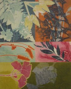 botanical monotype collage, mary margaret briggs (great for a scarf design) Collage Kunst, Collage Art, Collages, Nature Prints, Art Prints, Art Doodle, Gelli Arts, Plate Art, Art Design
