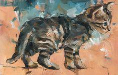 """Kitten"" oil by Dorus Brekelmans, Dutch artist, b.1972"