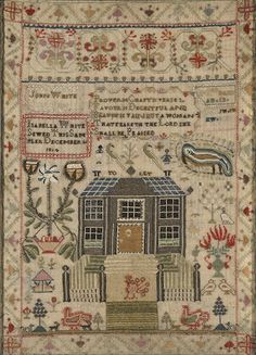 A silk on linen verse and house sampler  wrought by Isabella White American or English, Dated December 16, 1804