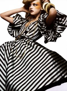 Gemma Ward, Vogue Italia - March 2005 - this dress and the stripes make me want to scrapbook and learn to sew all at once!