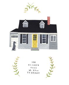 How cute is this custom, illustrated house portrait?!? I love Rebekka Seale's shop... I'd also like to try this myself :)