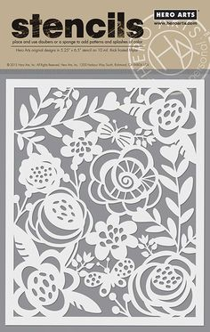 Hero Arts - Stencils - Bold Floral: This stencil from Hero Arts is made from a thick frosted mylar with a premium laser cut image. Use a paintbrush, ink pad, dauber or spray to leave a stylish impression. Stencil Patterns, Stencil Designs, Hero Arts, Motif Arabesque, Paper Art, Paper Crafts, Flora Und Fauna, Stencil Diy, Paisley Stencil