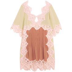 Chloé Macramé lace-trimmed silk crepe de chine mini dress (€2.825) ❤ liked on Polyvore featuring dresses, pale green dress, crepe de chine dress, short silk dress, lace trim dress and short dresses