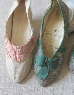 Late 18th French Silk Slippers c 1790-1805 Rare Stripes and