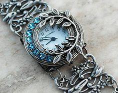 Silver watch bracelet filigree ladies wrist watch bracelet Gothic Victorian Blue Swarovski Jewelry unique women watches silver by Aranwen