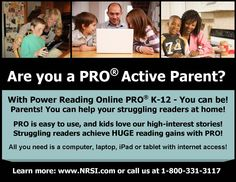Learn more about PRO and how you can help your struggling reader this summer!  Go to www.nrsi.com or call us at 1-800-331-3117.  Let's get them reading!