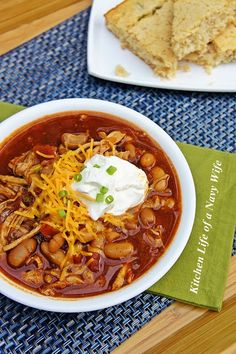 Slow Cooker Pulled Pork Chili | The Kitchen Life of A Navy Wife