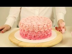 How to Pipe an Ombré Rosette Cake - YouTube