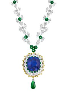 Moussaieff necklace with a natural Burmese sapphire of 91.38 carats, emeralds, colourless and yellow diamonds