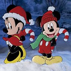 painted wood yard stakes | ... Disney Mickey Minnie Mouse Christmas Yard Art Prop Display New | eBay