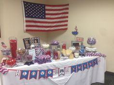This is the candy buffet I did for my son and daughter-in-laws wedding. They are both in the Army National Guard.