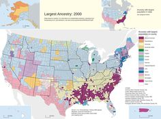 Predominant or largest ancestry sources in US by county.
