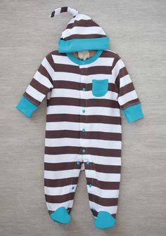 Casual Baby Striped Footie In Brown | Modern Vintage Clothing | Modern Vintage Children