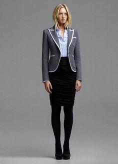 winter fashion style office with a pencil skirt and blazer