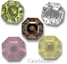 Asscher-cut gems; apatite, white quartz, smoky quartz, rose quartz and lemon quartz.