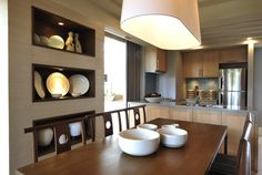 Rockwell Land - The Grove - Dining Room by nichole Modern Condo, Condo Living, Feng Shui, Shelving, Floor Plans, Dining Room, Flooring, Kitchen, Table