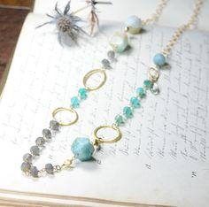 Amazonite and  Labradorite Long Necklace. $85.00, via Etsy.
