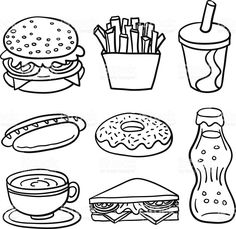 sketch drawing of fastfood in line art drawing. sketch drawing of fastfood in line art drawing. - Sweet Food Collection In Black And White Stock Illustration FREE Dental Health Sorting Activity by Teaching is a Work of Art