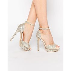 Lipsy Molly Silver Glitter Platform Heeled Sandals (255 TND) ❤ liked on Polyvore featuring shoes, sandals, silver, platform shoes, heeled sandals, silver platform sandals, silver peep toe shoes and silver peep-toe shoes