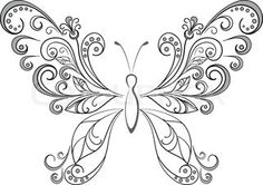 Vector of 'Set abstract butterflies, coloured and black contour ...