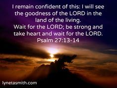 Psalm 27: We can trust the God who loves us. Take heart! Just wait on Him... You WILL see His goodness in your life!
