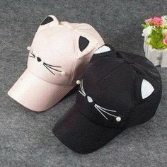 """Cute cat baseball cap code """"Fatma""""for off"""" Invite Chi Le Chat, Things To Buy, Girly Things, Cat Things, Anime Shop, Cute Caps, Cat Ears, Kawaii Clothes, Kawaii Fashion"""
