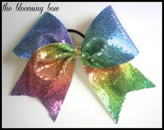 Sequin Cheer Bow Rainbow Pastel by TheBloomingBow on Etsy
