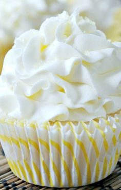Lemon Cupcake with Lemon Buttercream Recipe ~ Sweet lemon cupcakes made from my favorite, from scratch, white cake recipe. Topped with a soft lemon buttercream frosting!