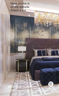 Modern bedroom in Dubai house.
