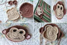 crocheted monkey face | Crochet monkey ^^ | Crochet  Knit (For Inspirations)