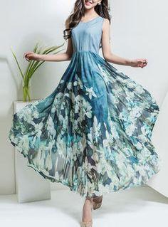 Slim Nipped Waist Sleeveless Print Patchwork Maxi Dress
