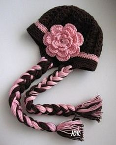 Pigtail Hat free crochet pattern. (I don't crochet, I just thought this was cute)