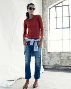 AUG '14 Style Guide: J.Crew women's painter tee in dark mahogany, Point Sur vintage cropped Japanese selvedge in Darwin wash.