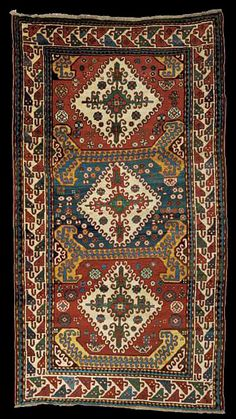 """Antique Karabagh """"Kasim Ushag"""" rug, late 19th century, Elisabethpol Governorate Zangezur Uyezd. 8ft. 6in. by 4ft. 8in. (2.59 by 1.42m.)"""