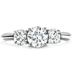 18 karat white gold insignia three-stone ring with ideal cut round brilliant diamond stones www.sartorhamann.com #RDA1746