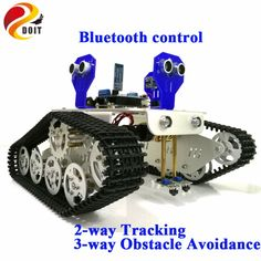 DOIT Bluetooth Control Smart Robot Tank Chassis with UNO R3 Board+Motor Drive Shield for Tracking Ultrasonic Obstacle Avoidance