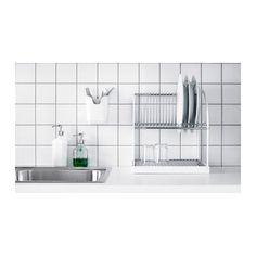 BESTÅENDE Dish drainer  -  silver color, white $24.99