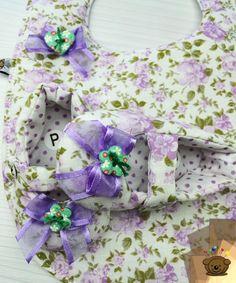 Kit 2 peças Chanel/bab floral/poá lilás/verde (Ref.1041-k2)