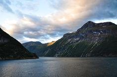 Fjord - Fjord at dawn. Hellesylt, Norway