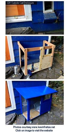 Like how could change litter box from outside if put a people door on it for us (with a closing door for cats, being sure they are safely inside before the litter change!). #cats #catio