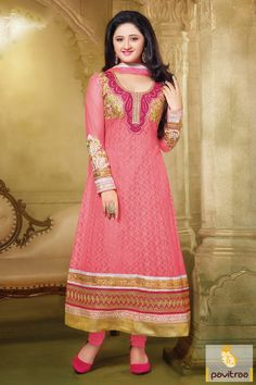 In this pink chiffon net party wear Anarkali Salwar Suit, there are elegant, designs works like r embroidery work, sequence work, patch work and Lace patti work.    #salwar suits, #anarkali salwar suits, #designer dresses, #party wear dresses, #salwar kameez, #lehenga suits, #bollywood dresses, #onlinesuit