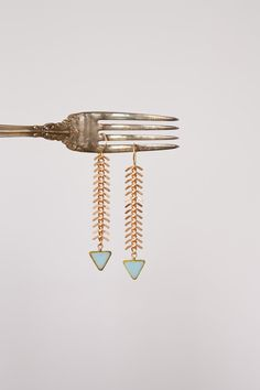 The Fisherman's Daughter - Blue Triangle and Fish Spine Chain Drop Earrings, Fish Bone Chain Earrings, Tribal, Chevron, by Prairieoats by prairieoats on Etsy Photo Jewelry, Jewelry Box, Jewelry Accessories, Fashion Accessories, Jewelry Design, Jewelry Making, Diy Jewelry, Jewelry Armoire, Gold Jewelry