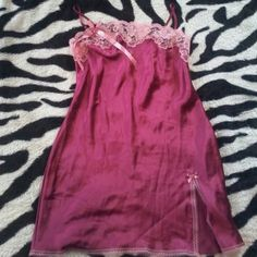 Pink Lace Embellished Slip no flaws. Embellished at top. Has lace and a bow!  Never worn! Victoria's Secret Intimates & Sleepwear Chemises & Slips