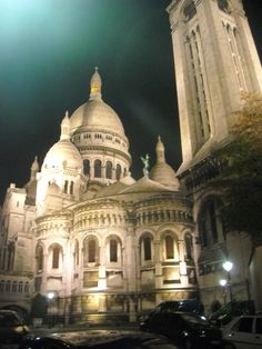 Sacre Couer at night shines like a beacon over Paris.