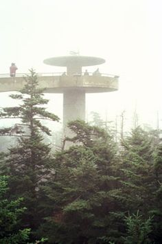 At an elevation of 6,643 feet, the observation tower at Clingmans Dome stands on the parks highest peak.