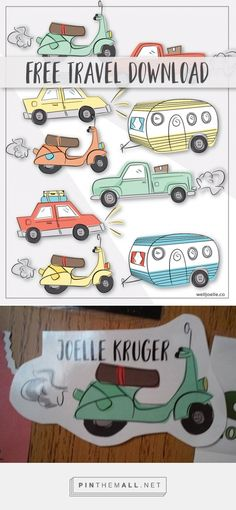 Free Download! Travel Themed door decorations for College RA's or residence halls or dorms, moped, RV, car, truck, vintage camper