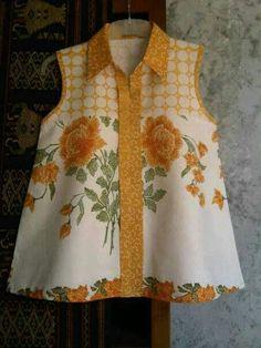 15 Ideas for diy clothes refashion women crafts Blouse Batik, Batik Dress, Sewing Clothes Women, Clothes For Women, Mode Batik, Plus Sise, Batik Kebaya, Diy Summer Clothes, Diy Clothes Refashion