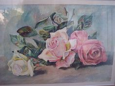 Pink ROSES PAINTING.  Vintage Watercolor. Shabby Style.  Cottage Chic.