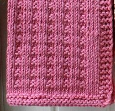 Pink Dishcloth - page needs to be translated - FREE - KNIT Crochet Designs, Knitting Designs, Knitting Patterns Free, Knit Patterns, Free Knitting, Stitch Patterns, Knitted Washcloths, Knit Dishcloth, Knitted Afghans